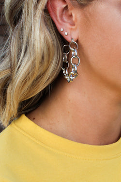 OS / Silver Chain Link Hoop Earrings - Madison + Mallory
