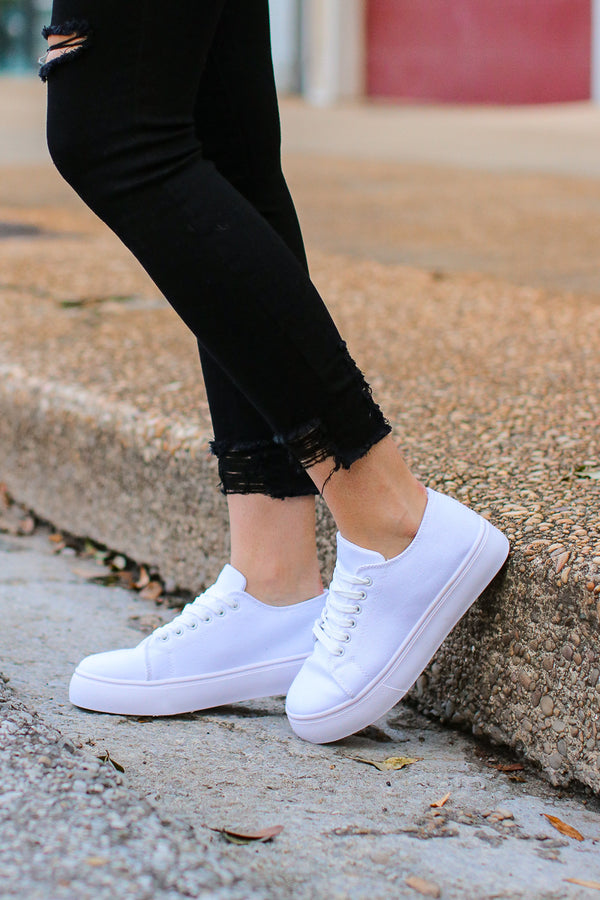 6 / White Finishing Touch Platform Sneakers - FINAL SALE - Madison + Mallory