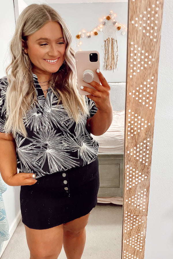 Black / S Islands in the Stream Printed Top - Black - Madison and Mallory