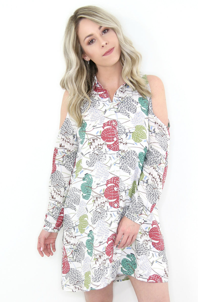 S / Ivory Cold Shoulder Floral Button Shirt Dress - Madison + Mallory
