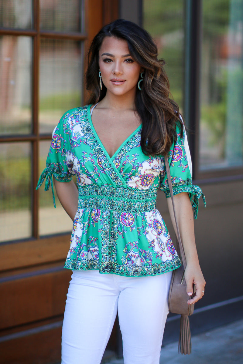 S / Green Tallinn V-Neck Print Top - FINAL SALE - Madison + Mallory