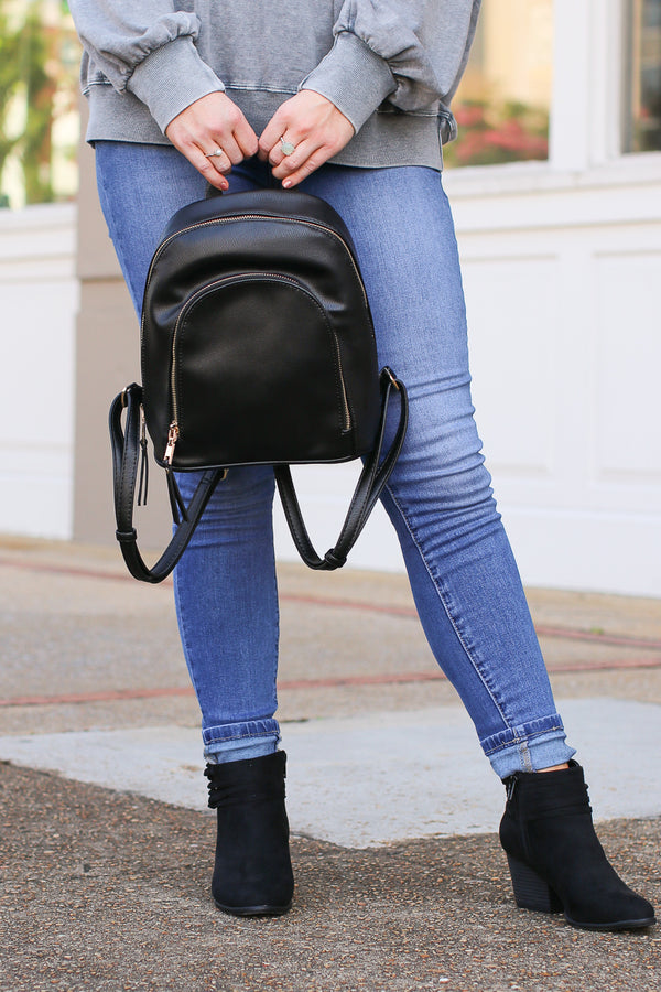 Vera Faux Leather Backpack - Black - Madison + Mallory