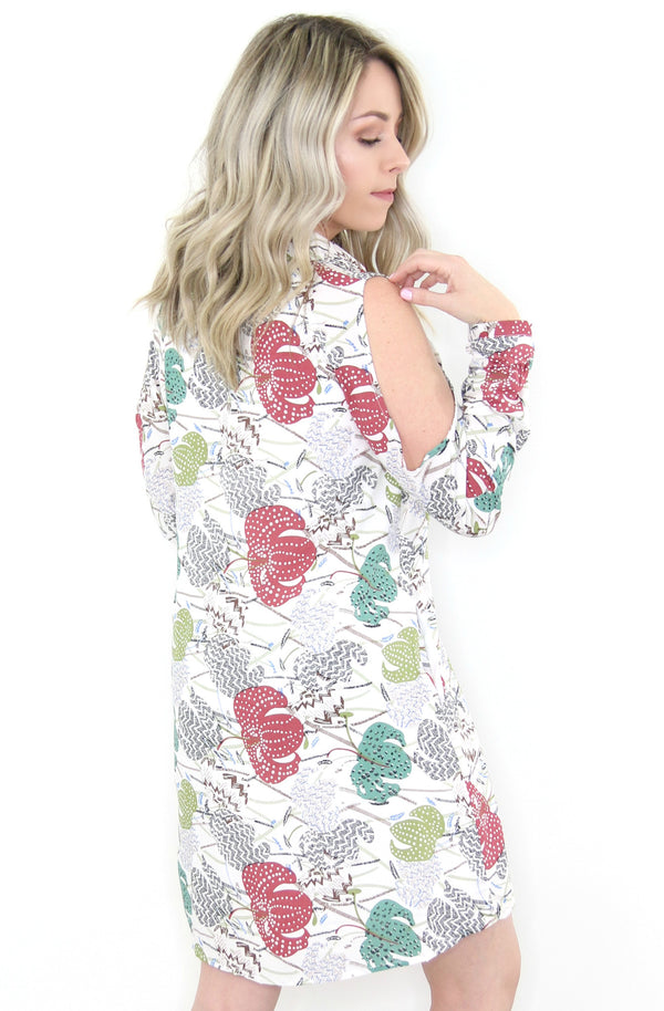 Cold Shoulder Floral Button Shirt Dress - Madison + Mallory