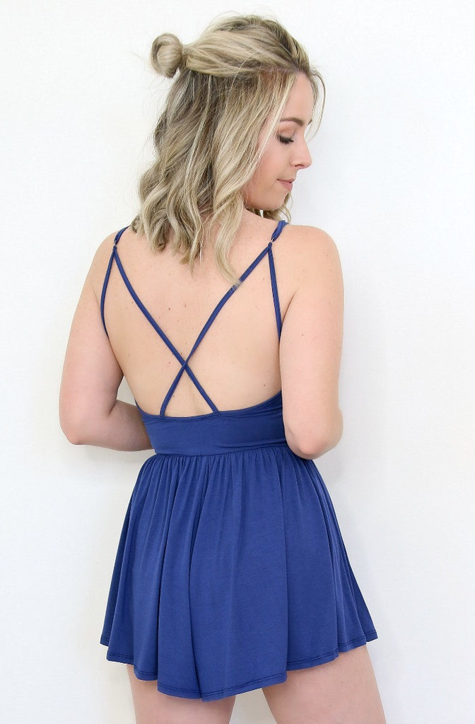 Cross Back Cami Romper