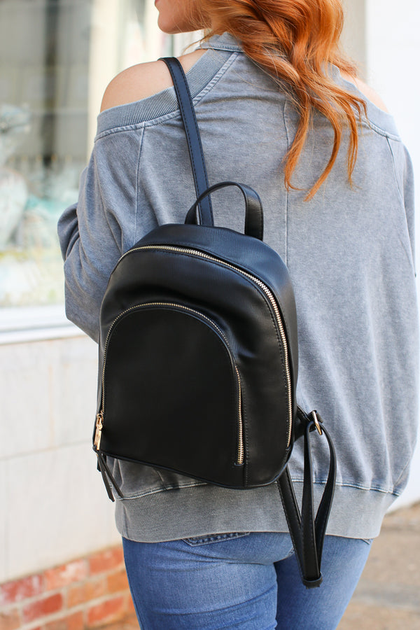Black Vera Faux Leather Backpack - Black - Madison + Mallory