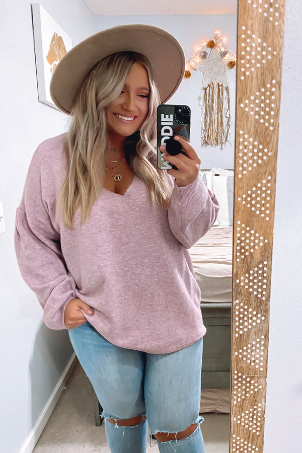 Forever Favorite Bubble Sleeve V-Neck Sweater - Madison and Mallory