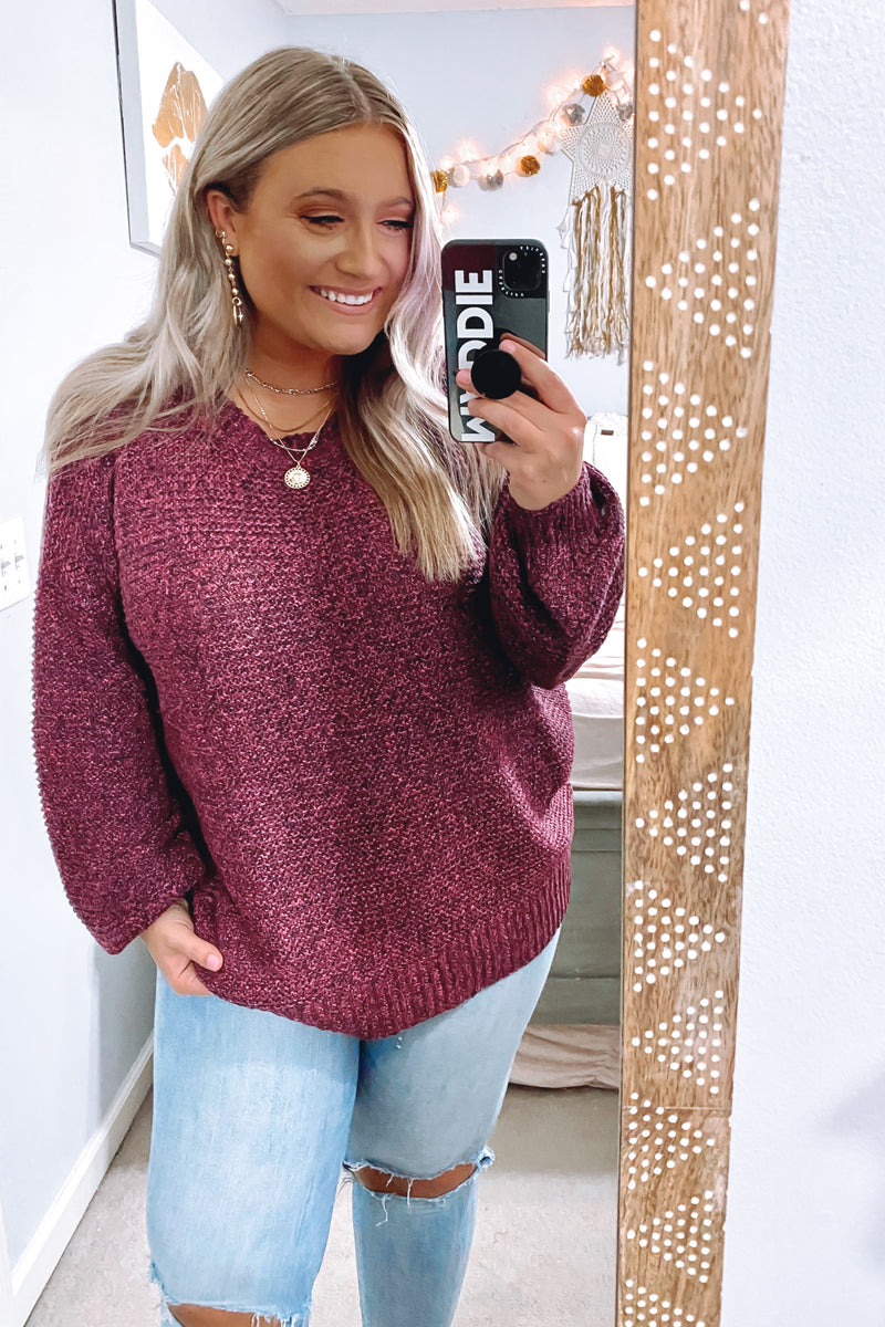 Berry / S Tristen Two-Tone Knit Sweater - Madison and Mallory