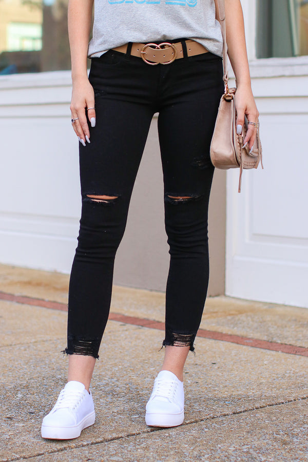 1 / Black Soul Searching Distressed Black Jeans - Madison + Mallory