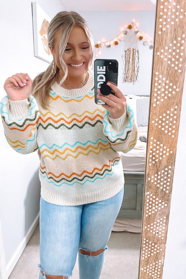 S / Natural Surrealist Multi Color Knit Sweater - Madison and Mallory