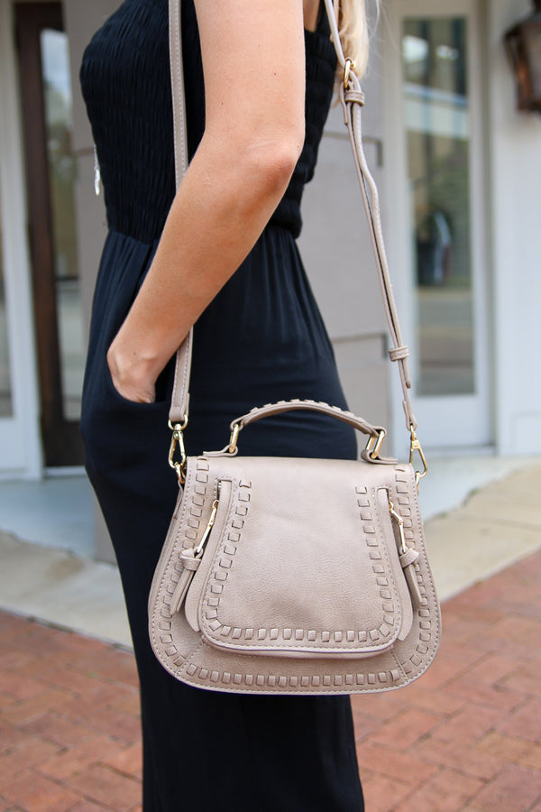 Taupe Colby Whipstitch Crossbody Bag - Taupe - Madison + Mallory