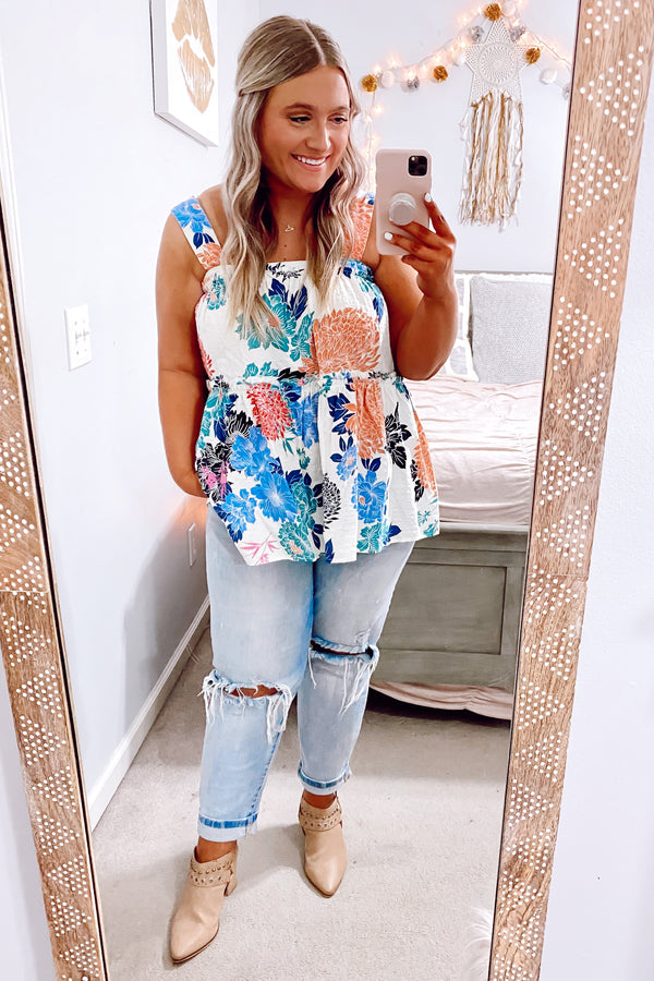 S / White Say It With Flowers Ruffle Tank - Madison and Mallory