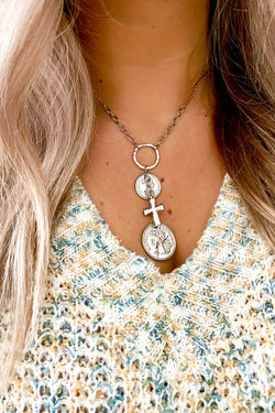Silver Over the Horizon Coin and Cross Charm Necklace - Madison and Mallory