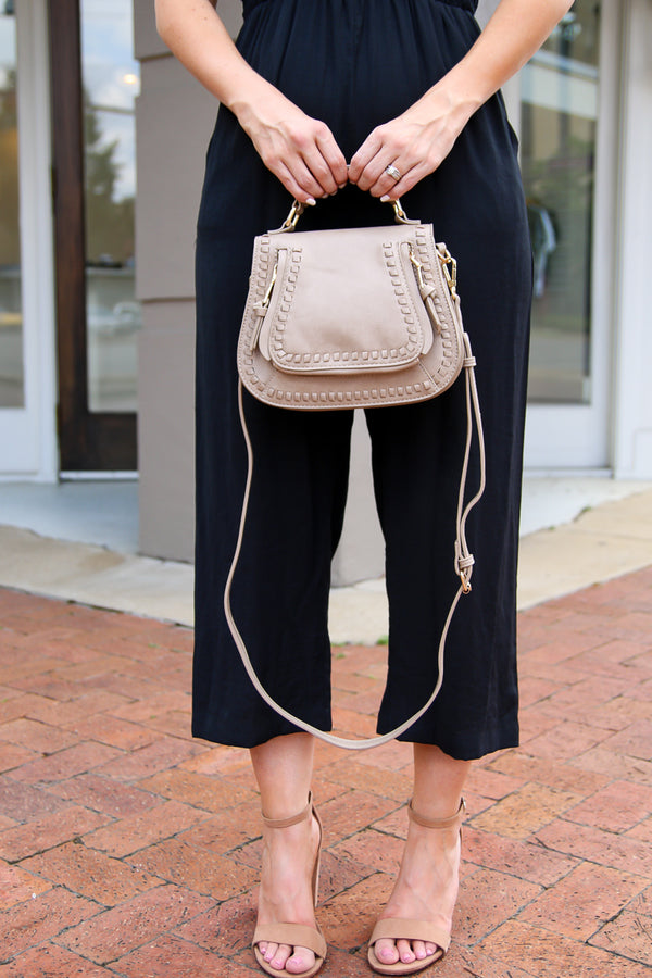 Colby Whipstitch Crossbody Bag - Taupe - Madison + Mallory