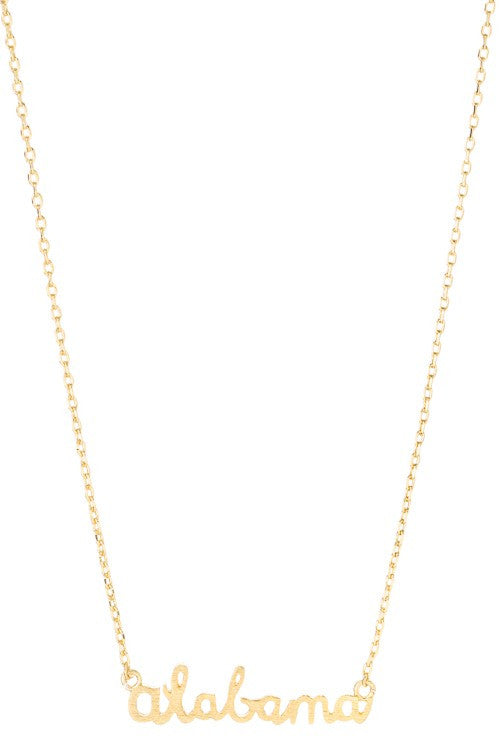 Gold Alabama Script Necklace - Madison + Mallory