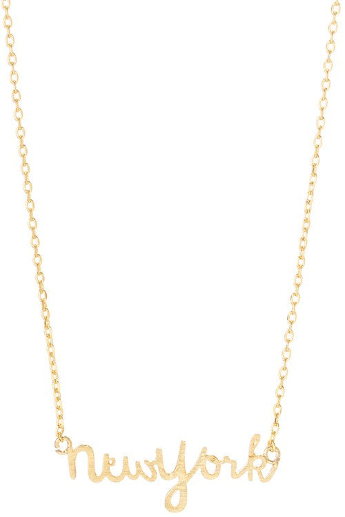 Gold New York Script Necklace - Madison + Mallory