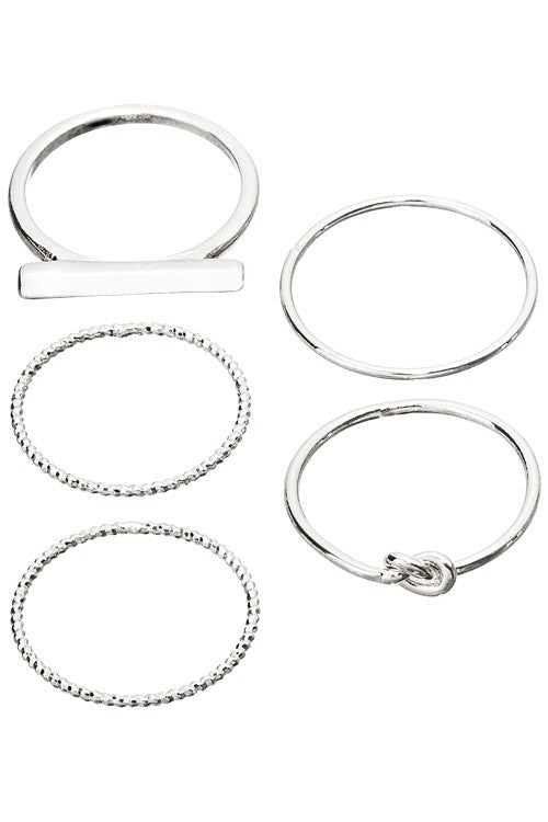 Silver Knot Mixed Rings Set - Madison + Mallory