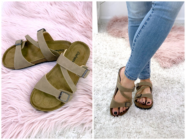 Island Hopping Strappy Buckle Sandals - Taupe - Madison + Mallory