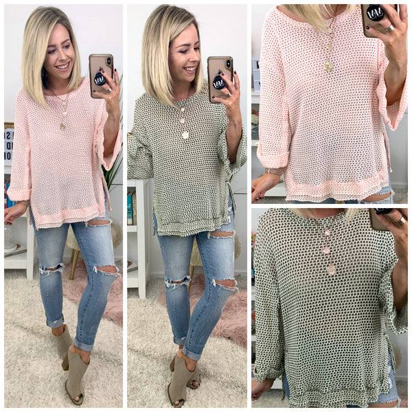 Kalimera Cuffed Sleeve Waffle Knit Top - FINAL SALE - Madison + Mallory