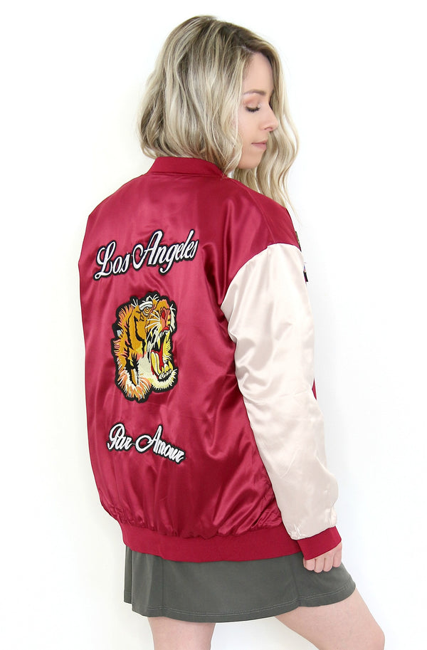 S / Crimson Cream LA Varsity Bomber Jacket - Madison + Mallory