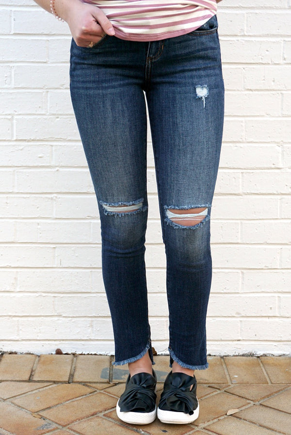 1 / Dark Denim Gwen Frayed Hem Jeans - Madison + Mallory