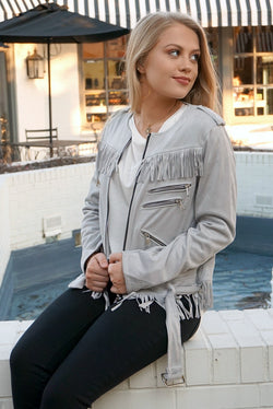 S / Gray Faux Suede Fringe Jacket - FINAL SALE - Madison + Mallory