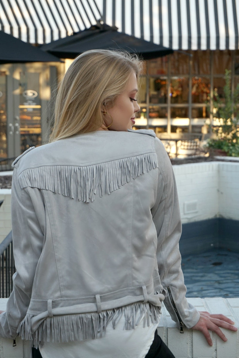Faux Suede Fringe Jacket - FINAL SALE - Madison + Mallory