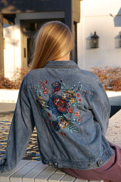 S / Denim Embroidered Denim Jacket | Curve - Madison + Mallory