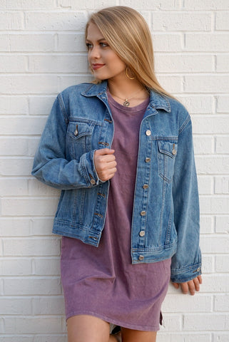 Embroidered Denim Jacket | Curve - Madison + Mallory