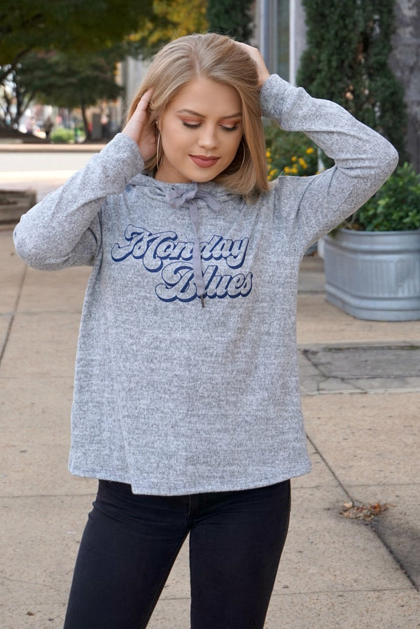 S / Heather Gray Monday Blues Hooded Sweatshirt - Madison + Mallory