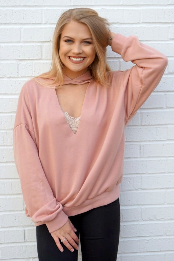 S / Dusty Pink Cutout Hoodie Sweatshirt - Madison + Mallory