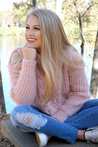 Braided Detail Cold Shoulder Sweater - Madison + Mallory