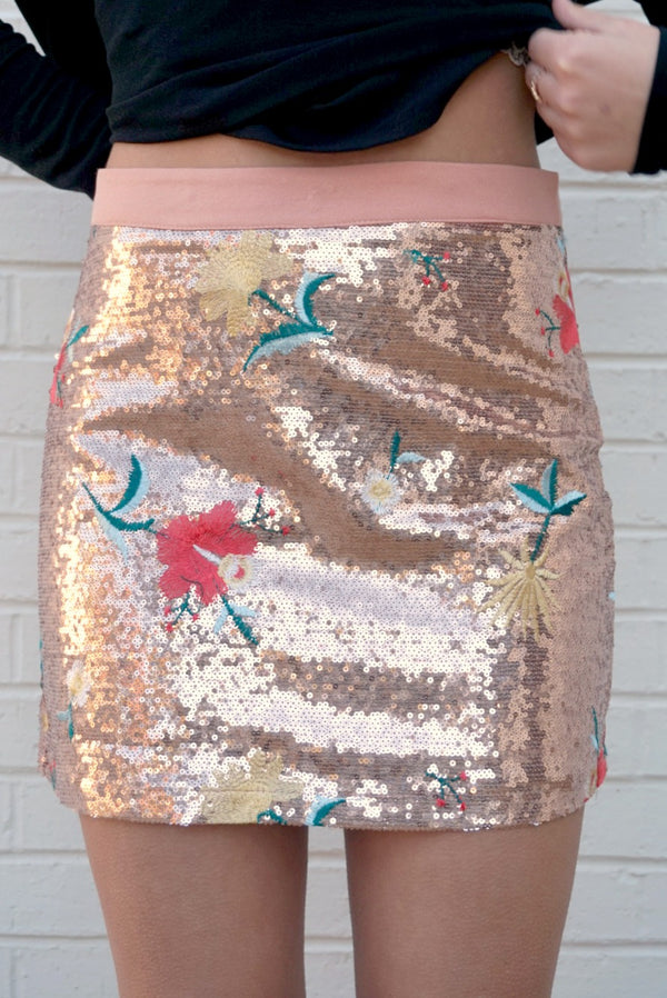 Floral Embroidered Sequin Skirt - FINAL SALE - Madison and Mallory