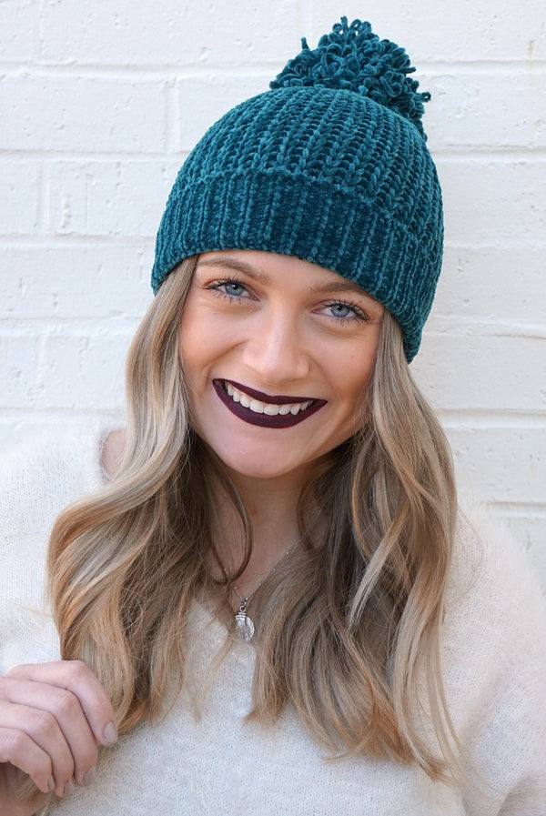 Teal Chenille Pom Pom Beanie - Madison + Mallory