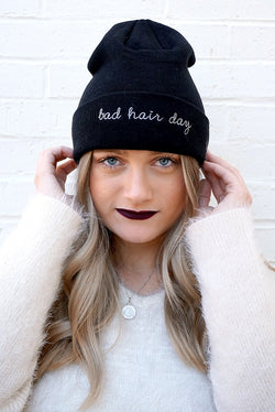 Black Bad Hair Day Knit Beanie + MORE COLORS - Madison + Mallory