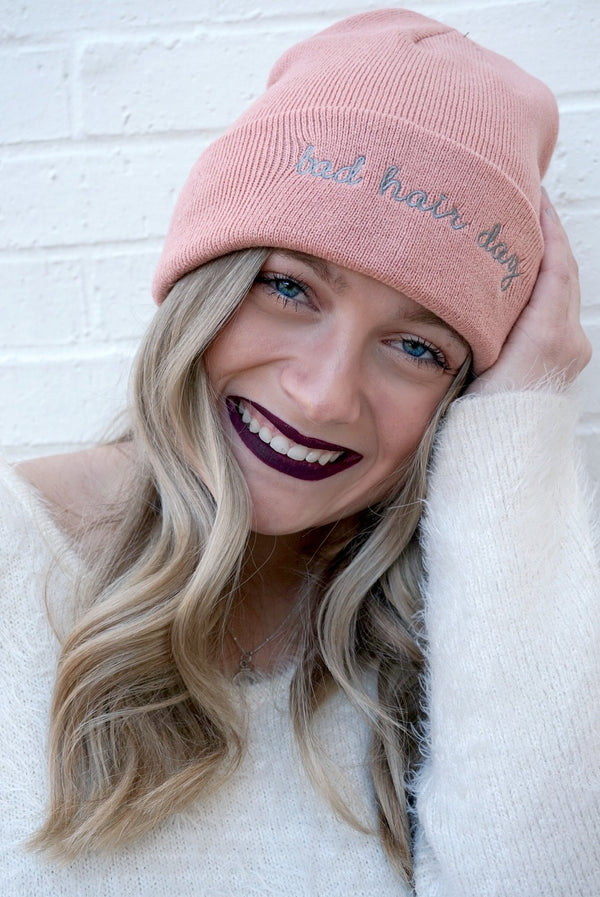 Light Pink Bad Hair Day Knit Beanie - Madison + Mallory