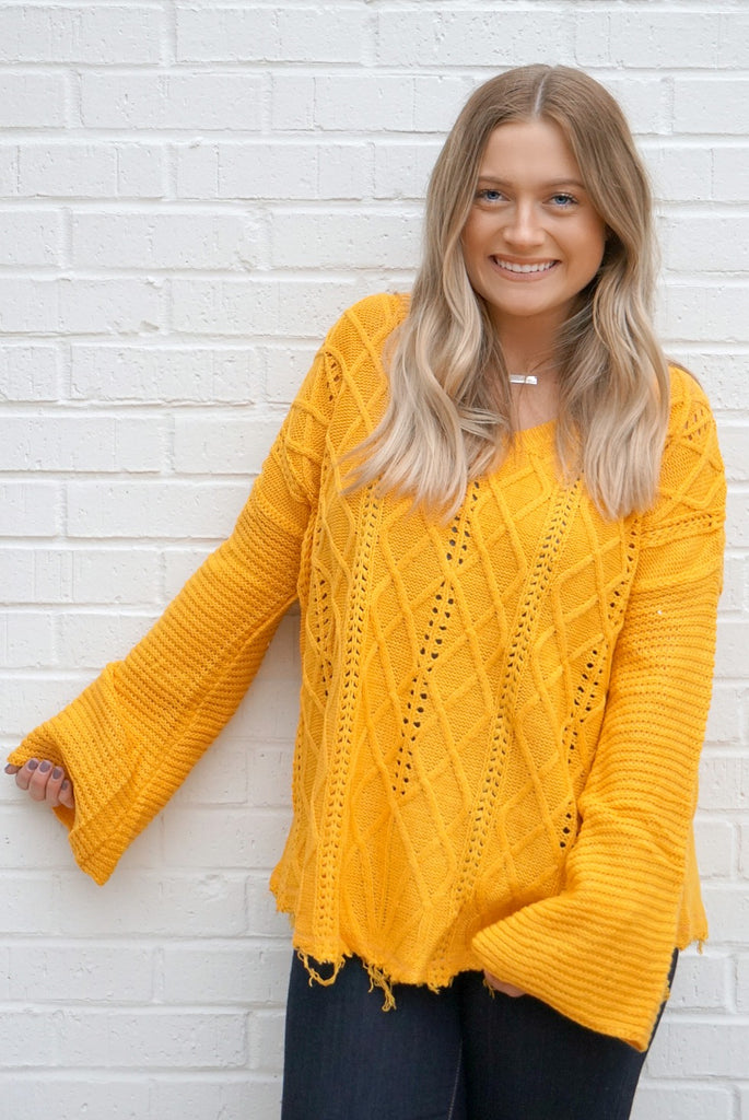 S / Mustard Cable Knit Bell Sleeve Sweater - Madison + Mallory