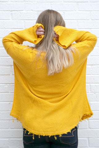 Cable Knit Bell Sleeve Sweater