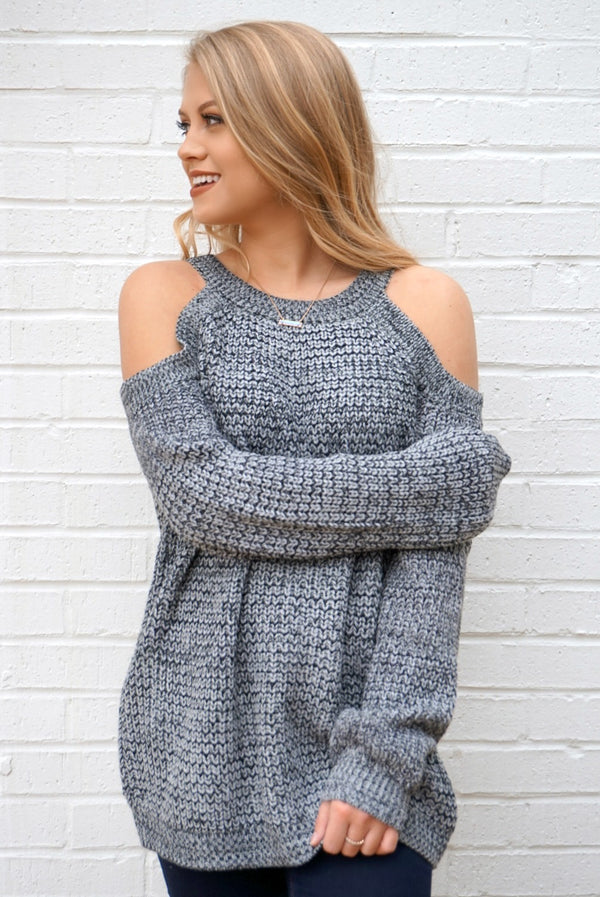 S/M / Charcoal Cold Shoulder Knit Sweater - Madison + Mallory