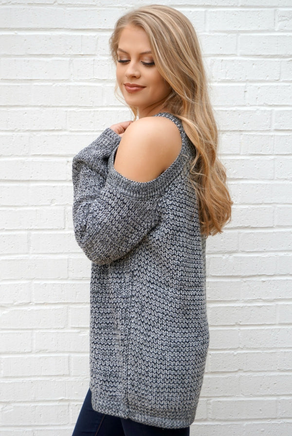 Cold Shoulder Knit Sweater - Madison + Mallory