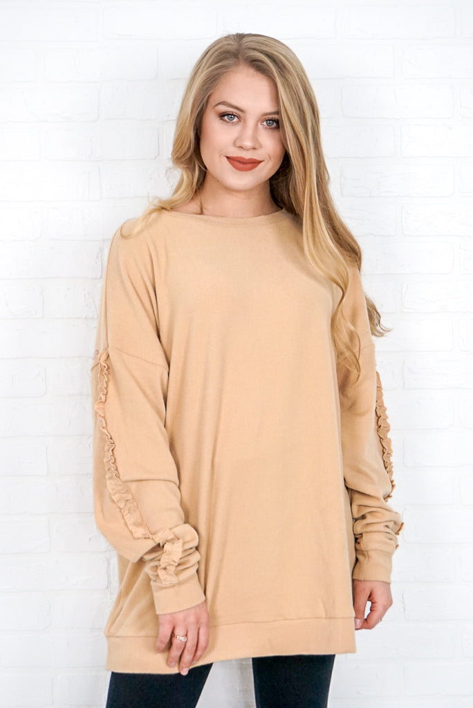 Ruffled Sleeve Detail Pullover - Madison + Mallory