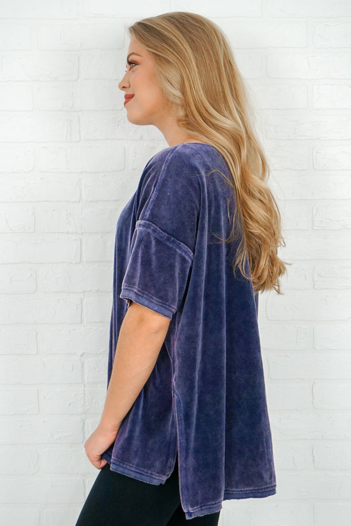 Mineral Washed Velvet Top