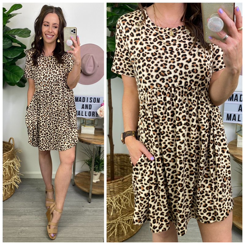 Laclair Animal Print Babydoll Dress - Madison and Mallory