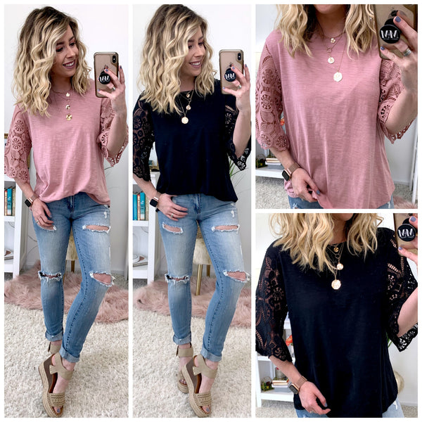 Liesel Lace Sleeve Top | CURVE - Madison + Mallory