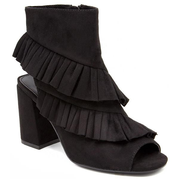Ruffled Peep Toe Booties - Madison + Mallory
