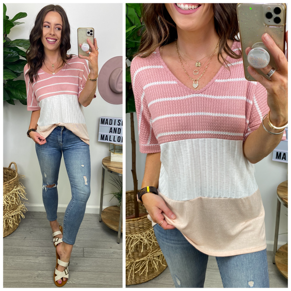 Mabie Striped Color Block Top - Madison and Mallory