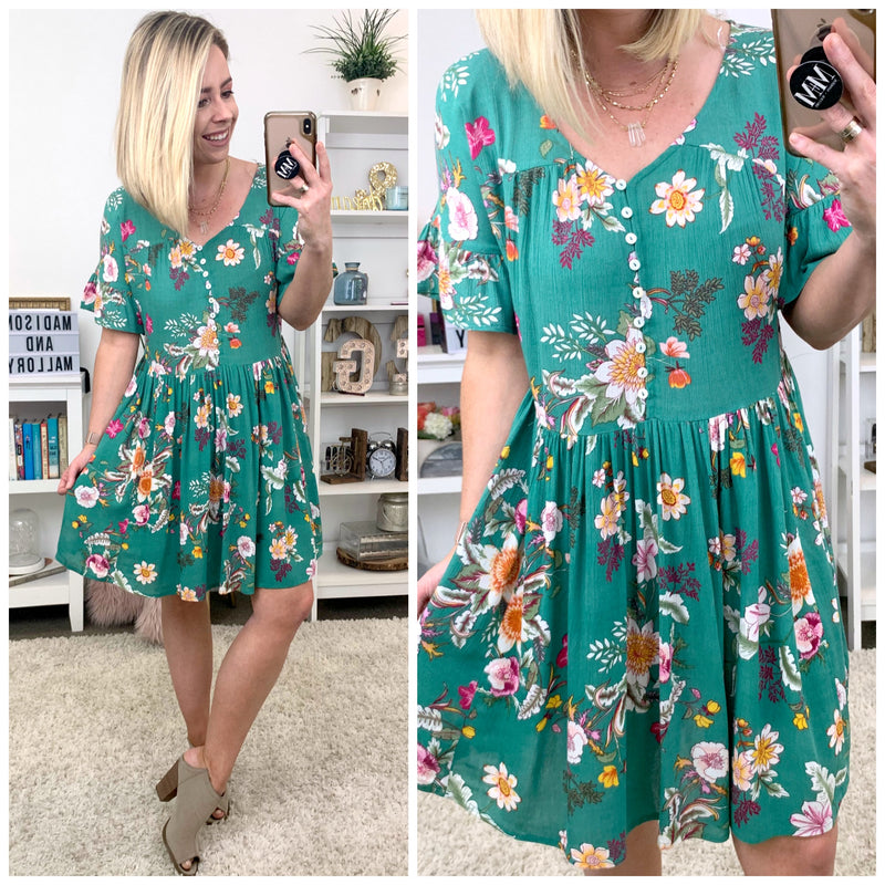 McClain Floral Button Babydoll Dress - FINAL SALE - Madison + Mallory