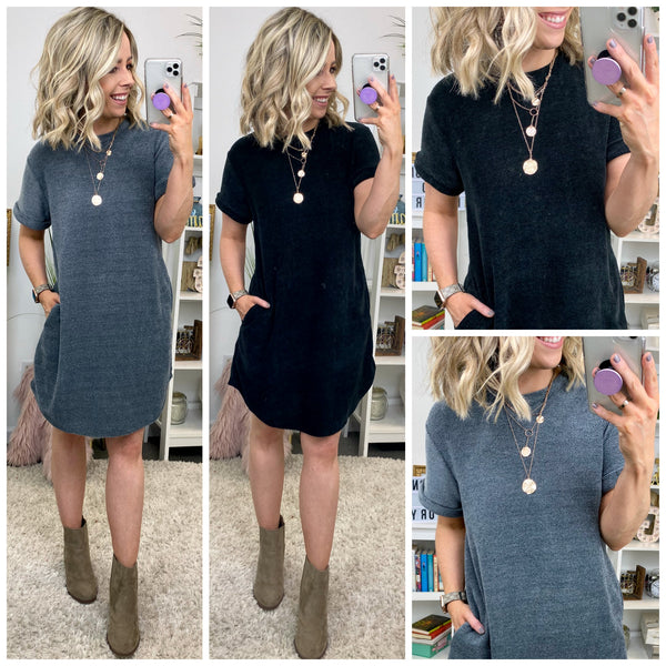 Napa Chenille Rolled Sleeve Dress - Madison + Mallory