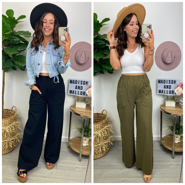 No Introduction Patch Pocket Wide Leg Pants - Madison and Mallory