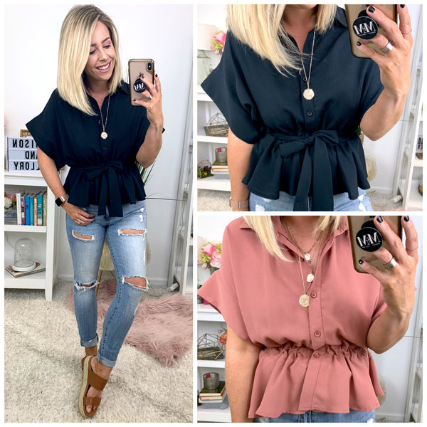 Noah Button Down Tie Top - FINAL SALE - Madison + Mallory