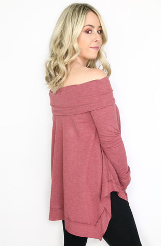 Off Shoulder Sweater Tunic Top